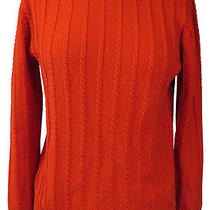 Apc Orange Cable Knit Cotton Sweater S Photo