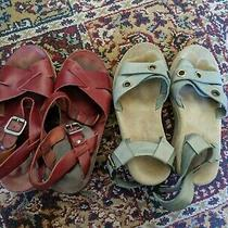 Apc Rue Madame Paris Strappy Wedge Sandals Lot of Two (2) Burgundy and Blue 36  Photo