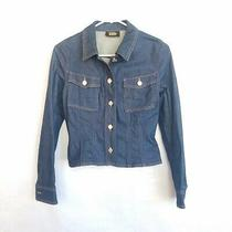 Apc Vanessa Seward  Blue Denim Jean Jacket Size Xs Pockets Crop Fitted Flare New Photo
