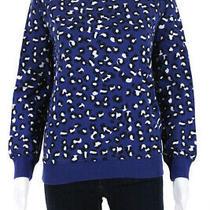 Apc Womens Cotton Animal Print Crew Neck Knit Sweatshirt Blue Size S Photo