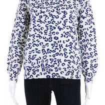 Apc Womens Cotton Animal Print Crew Neck Knit Sweatshirt White Size S Photo
