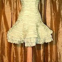 Apple Green Crinkled Taffeta Short Dress Jessica Mcclintock Size 8 Photo