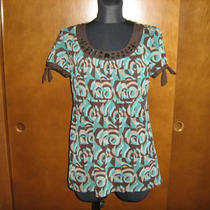 Apt. 9 Aqua & Brown Stretch Tunic Top  S Beading Lined Photo