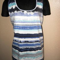 Apt 9 Aqua Navy Stripe Embellished Tank Sz X-Lg  Nwt Photo