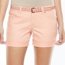 Apt 9 Modern Fit Cuffed Jean Denim Shorts Women's Size 16 Pink Blush New W Tag Photo