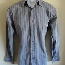 Apt. 9 Superfine 80s Cotton Men's M Ls Medium Gray W. Black Stripes Casual Shirt Photo