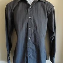 Apt. 9 Superfine 80s Cotton Men's S Ls Dark Gray Subtle Stripes Casual Shirt Photo