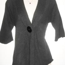 Aqua  100% Cashmere Black Cardigan Sweater Empire Waist Dolman Sleeves  Sz S  Photo