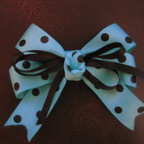 Aqua and Black Polka Dotted Hand-Made Boutique Hair Bow   Photo