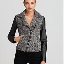 Aqua - Asymmetric Zip Tweed Bike Women's Leather Jacket Photo