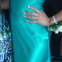 Aqua Beaded Prom Dress/gown Size 3-4 Photo