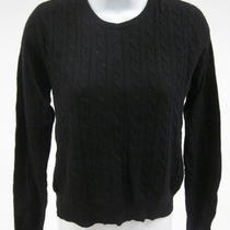 Aqua Black Cashmere Long Sleeve Crewneck Cable Knit Sweater Sz S Photo
