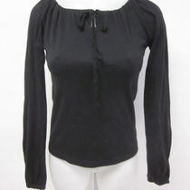 Aqua Black Cotton Long Sleeve Drawstring Neck T-Shirt Top Sz Xs Photo