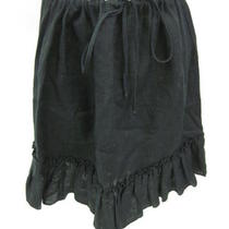 Aqua Black Linen Ruffle Bottom Knee Length Skirt Sz S Photo