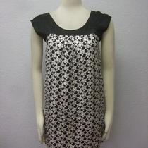 Aqua Bloomingdales Black White Geometric Artsy Print Cap Sleeves Shift Dress Xs Photo