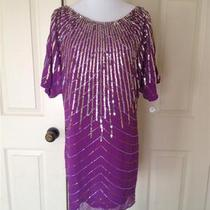 Aqua Bloomingdales Purple Silver Sequined and Beaded Dress 6 Photo