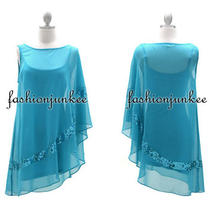 Aqua Blue A7143 Chiffon Wing Dress Mini Kimono Sleeve Cocktail Sequin Sexy New S Photo