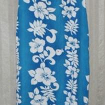 Aqua Blue and White Hawaiian Dress Size L Photo