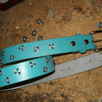 Aqua Blue Belt Riveted W/washers Size 38 Photo