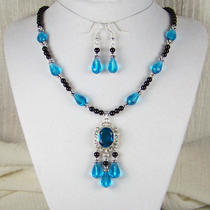 Aqua Blue Black Glass Necklace Set-4 Dress-Medieval Renaissance Victorian Sca Photo