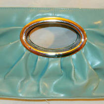 Aqua Blue Clutchhandbagpurse W/silver Oval Handle Inset in Purse Bodysexy Photo