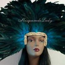 Aqua Blue Coque Feather Showgirl Las Vegas Headdress Mask Costume Accessory Lady Photo