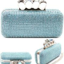 Aqua Blue Crystal Paved Knuckle Duster Rhinestone Cocktail 4 Ring Clutch Purse Photo