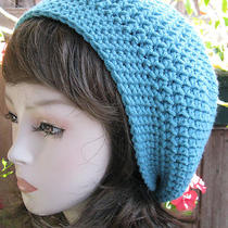 Aqua Blue  Hand Crochet Tam Hat Rasta Beanie Slouchy Hippie Photo