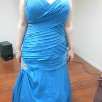 Aqua Blue Mystique Prom Dress With Lace-Up Corset Back Photo