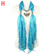 Aqua Blue Necklace Jewelry Scarf With Crystals & Butterfly Pendant New Photo