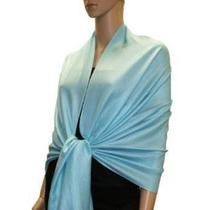 Aqua Blue Pashmina Stole Wrap Scarf Ladies Soft Shawl Elegant Layering Photo