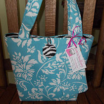 Aqua Blue Print Purse Tote Bag Set W/ Zebra Lining Damask Fabric Elegant Gift  Photo