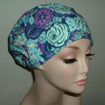 Aqua Blue Purple Grape Flowers or Surgical European Scrub Hat Corn Crna Chemo Rn Photo