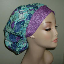 Aqua Blue Purple Grape Flowers or Surgical Nurse Bouffant Scrub Hat Corn Crna Rn Photo