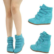 Aqua Blue Round Toe High Top Hidden Med Wedge Heel Womens Ankle Boot Sneaker Sz7 Photo