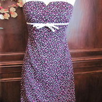 Aqua Blue Size Medium Black Stretch Sun Dress White & Bright Pink Polka Dots Photo