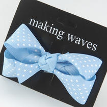 Aqua Blue White Polka Dot Ribbon Hair Bow Clip on Emo Photo