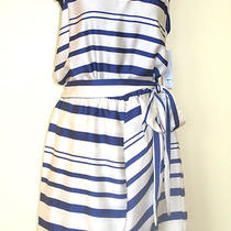 Aqua Brand by Bloomingdales Royal Blue and White Striped Dress Sz Medium (8-10) Photo