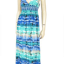 Aqua Brand New Mermaid Tie Dye Maxi Dress S Cami Smocked Empire Boho Peasant Photo