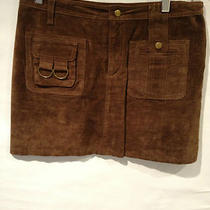 Aqua (By Bloomingdales) Suede Brown Mini Skirt Size 4 Mint Condition Photo