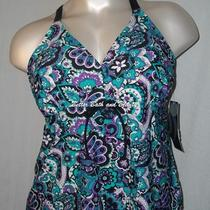 Aqua Couture Plus Size Cross Back Tankini Top Swim Suit Top Blue Paisley 18w Nwt Photo