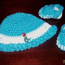 Aqua Crocheted Hat and Crocs With Mermaid Photo