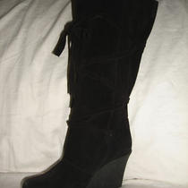 Aqua Debbie Boots Women's Shoes Size 8.5 Black Suede Wedge Heel Tie Eur 39 New Photo