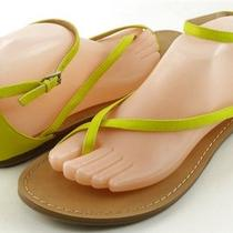Aqua Frenzy Green Yellow Womens Designer Shoes Flats Strappy Thongs Sandals 10 Photo