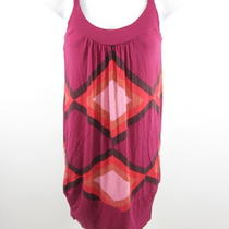 Aqua Fuchsia Multicolored Spaghetti Strap Geometric Print Tunic Tank Top Sz Xs Photo
