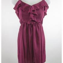 Aqua Fuchsia Ruffle Front Spaghetti Strap Cocktail Dress Sz Xs Photo
