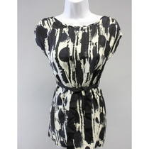 Aqua Girl's Black White Tie Dye Print Sleeveless Tie Front Dress Sz M Photo