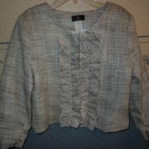 Aqua Gray and White Ruffle Jacket Size Medium Photo