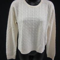 Aqua Ivory Cashmere Cable Knit Crew Neck Long Sleeve Pullover Sweater Sz L Photo