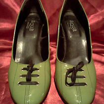 Aqua Ladies Shoes in Green Patent Leather  With Lace Details.  Photo